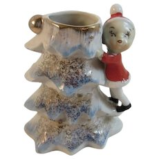 Vintage Elf Climbing Blue Christmas Tree Vase Japan Porcelain