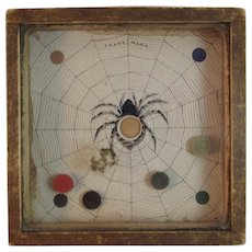 Victorian Dexterity Game Puzzle The Spider and The Fly from Waverly Toy Works in Wood Case with Dovetailed Corners