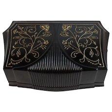 Art Deco Black and Gold Waltham Watch Casket Presentation Box