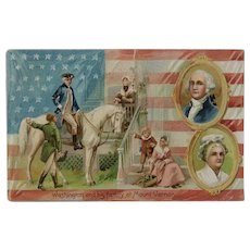 1908 Tuck's Washington and His Family at Mount Vernon Postcard German Germany Saxony Embossed Patriotic American Flag