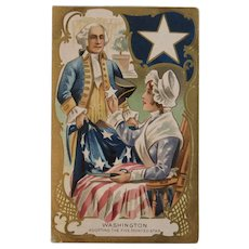 Washington Adopting the Five Pointed Star with Betsy Ross Embossed Postcard Patriotic American Flag