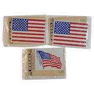 3 NOS Impko US Flag Decals Sealed in Original Packages American Patriotic