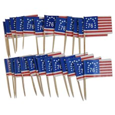 25 Vintage Bicentennial American Flag Party Picks Spirit of 76 Paper and Wood