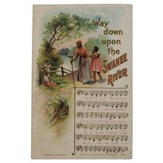 1908 Way Down Upon the Swanee River Postcard Music Song and Lyrics by Chas Rose Embossed