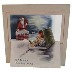 Santa and Child on Roof Christmas Card Vintage