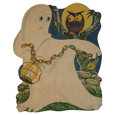 Halloween Die Cut Ghost and Owl with Lantern and Chain Cardboard Decoration