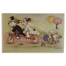 Mary Daester Dressed Dogs Postcard Bride and Groom on a Bicycle Alfred Mainzer