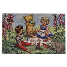 The Dolls' Picnic Molly Brett Postcard Unused Medici Society Doll Teddy Bear Hedgehog Mouse and Birds