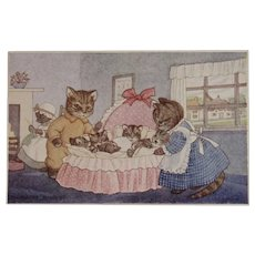 Cat's Cradle Margaret Tempest Postcard Unused Medici Society Dressed Kitty Cats and Kittens