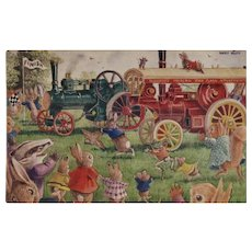 Racey Helps Dressed Rabbits Postcard The Traction Engine Race Unused Medici Society Trains and Bunnies