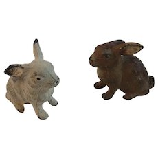 2 German Cast Metal Bunny Rabbits Bunnies Germany with Original Paint