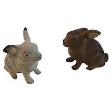2 German Cast Metal Bunny Rabbits Bunnies Germany with Original Paint