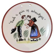 Evelyn Kern Pennsylvania Dutch Redware Folk Art Plaque Artist Signed Lancaster County PA Red Ware Pottery Amish Schmootzers