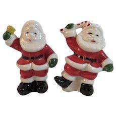 Dancing Waving Santa Claus Salt and Pepper Shakers Vintage Japan Christmas