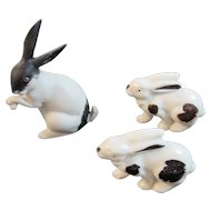 3 German Miniature Bisque Bunny Rabbit Figurines Germany Black and White Bunnies