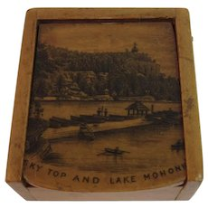 Victorian Mauchline Ware Miniature Stamp Box Sky Top and Lake Mohonk