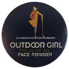 Outdoor Girl Golfer Face Powder Tin Olive Oil Lido Color Art Deco