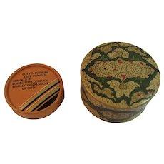 2 Coty Perfume Powder Boxes Emeraude Air Spun and L'origan Face Powder box Art Deco
