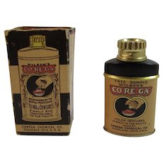 Miniature Wilson's Corega Tin Dentists Sample in Original Box Co-Re-Ga Vintage Medical Tin Denture Powder