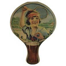 Emerson's Ginger Mint Julep Soda Advertising Fan with Tennis Player Cardboard Ginger-Mint
