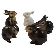 5 Goebel Bunny Rabbits Family Brown and White Vintage West Germany German Figurines Brown and White Bunnies