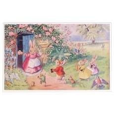 Racey Helps Dressed Rabbits Postcard The Late Scholars Unused Medici Society Frog Bunnies Mice and Birds at School