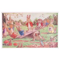 Racey Helps Dressed Rabbits Postcard The See-Saw Unused Medici Society Hedgehog Toadstools Mice and Birds