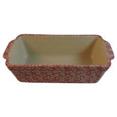Henn Pottery Pink Spongeware Bread Loaf Pan Workshops of Gerald Henn Roseville Ohio Signed SH Rose Color