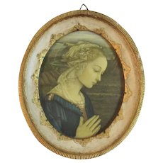 Italian Florentine Madonna by Lippi in Frame Italy Renaissance Style Print