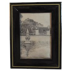 1930s Miniature Framed Silk China Town Chinatown Chicago