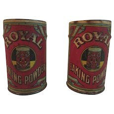 2 Sealed Paper Label Royal Baking Powder Tins Never Used Unopened Vintage Kitchen