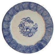 1840s English Blue Spongeware Plate Antique Sponge Ware Transferware Center