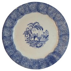 1840s English Blue Spongeware Plate Antique Sponge Ware Transferware Center