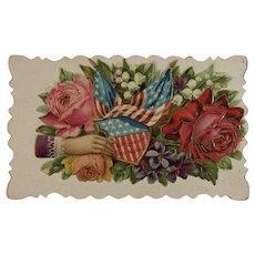 Patriotic American Flag Victorian Calling Card Embossed Die Cut
