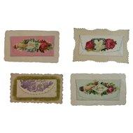 4 Envelope Style Victorian Calling Cards Flowers Dove Silk Fringe Embossed Die Cut