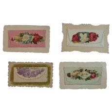 4 Envelope Style Victorian Calling Cards Flowers Dove Silk Fringe Embossed Die Cut