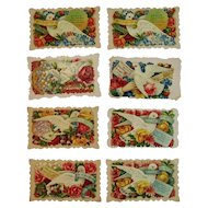 8 Victorian Calling Cards Doves and Flowers Die Cut Embossed