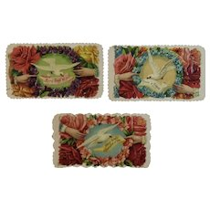 3 Victorian Calling Cards Doves Wreaths Hands and Flowers Die Cut Embossed