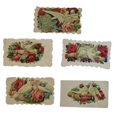 5 Victorian Calling Cards Doves Hands and Flowers Die Cut Embossed