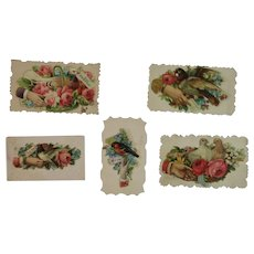 5 Victorian Calling Cards Birds Hands and Flowers Die Cut Embossed