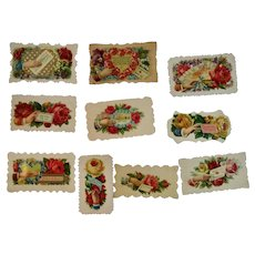 10 Victorian Calling Cards Hands and Flowers Die Cut Embossed Pink Red Yellow Roses