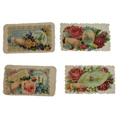 4 Victorian Calling Cards Ships Hands and Flowers Die Cut Embossed