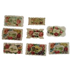 8 Victorian Calling Cards Hands Cottages and Flowers Die Cut Embossed