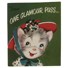 Vintage Christmas Pop Up Kitty Cat Greeting Card by Rust Craft Unused