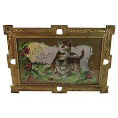 Embossed Tin Frame with Christmas Cats Postcard Kitty Kitties