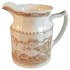 Furnivals Quail Brown Transfer Pitcher 6 Inch Made in England 1913 English