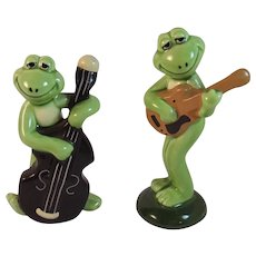2 Norcrest Musical Frogs Vintage Japan Ceramics Mid Century Cello Guitar Musician