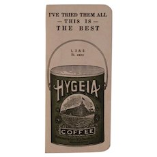 1925 Hygeia Coffee Pocket Calendar Card with Sewing Pins Pin Book Holder