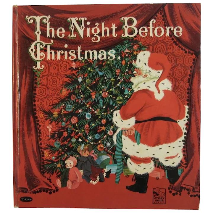 Christmas Books.1960 The Night Before Christmas Whitman Book Illustrated By Catherine Barnes First Edition Hardcover Childrens Book Clement C Moore