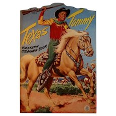 1952 Texas Tommy Cowboy Western Coloring Book Oversized by Merrill